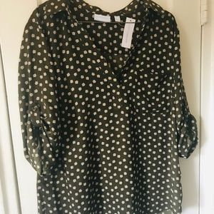 🍃NY & Co. Olive Green Button Up Blouse NWT🍃